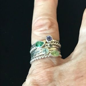 Stacking Gemstone Ring Set💚💜💙